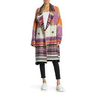 Free People Broad Horizons Striped Coat L Colorblock Oversized Boho Lined NWT