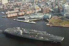 Aircraft Carrier USS George Washington, Battleship Wisconsin Norfolk VA Postcard