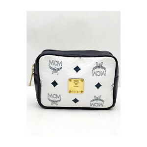 MCM Cosmetic Pouch Bag  Whites Leather 2202069