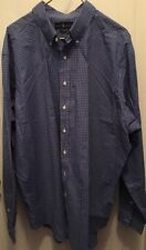 Ralph Lauren Blue Plaid Classic Fit Dress Shirt Long Sleeve Navy Blue Pony 2XLT