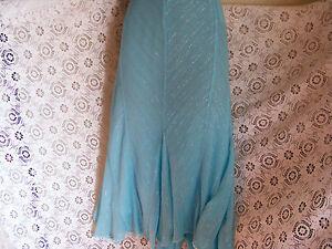 Coast Silk Size 16 Pale Blue Skirt With Sliver Thread & Hankerchief Sequined Hem