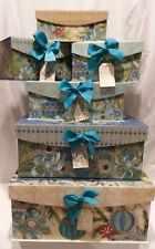 Christmas Peacock Storage Stacking  Nesting Boxes  Set of 6 New