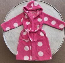 Girls size 8 Milshake Robe Hood Pockets Tie up Fleece Dressing Gown Polka Dots