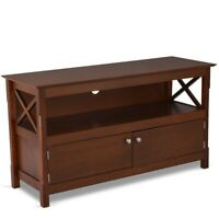 66TV Cabinet Vintage Style Entertainment Center Wood Brown Stand Storage Console