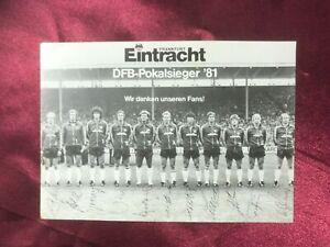 Mannschaftskarte EINTRACHT FRANKFURT-DFB-Pokalsieger '81-Druckautogramme-AK