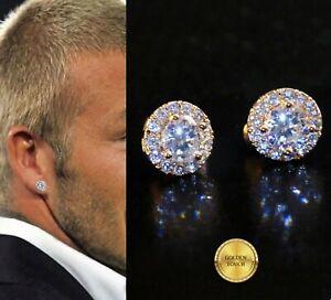 Men's Women Round 10mm Simulated Diamond 18K Rose Gold Filled Stud Earrings UK
