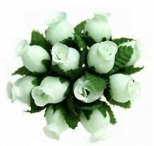 144 Miniature Poly Rose Silk Favor Flower Pick Wedding Shower - Mint Green