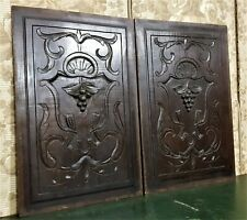 Pair scroll leaf grapes wine carving panel Antique french architectural salvage