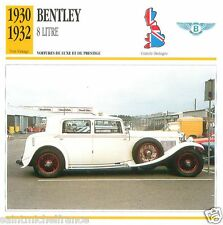 BENTLEY 8 LITRE 1930 1932 CAR VOITURE Great Britain GRANDE BRETAGNE CARD FICHE