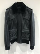 100% AUTHENTIC VILAIN REAL LEATHER ADJUSTABLE FUR COLLAR JACKET RUSSIAN JACKET