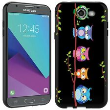 for Samsung Galaxy J3 prime (Owls on a branch)Black TPU gel phone case cover