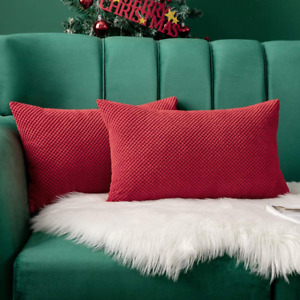 Miulee Pack Of 2 Decorative Throw Pillow Covers Soft Pellets Solid Cushion Case
