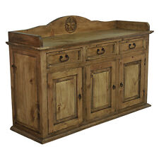 Pine Buffet with Star Rustic Western Real Wood Cabunet Sideboard Dining Room