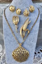Vintage Gold Tone All Crown Trifari Clip Earrings Brooches Pins Pendant Necklace