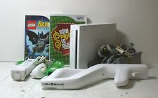 c) Nintendo Wii White Console Bundle w/ Controllers/ Gun/ Cables/ Games