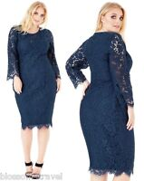 Goddiva Navy Scalloped Lace Long Sleeve Cocktail Party Evening Dress RRP £69