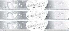Engagement White & Silver Foil Banner (9ft/2.74cm Long Message Repeats x 3)