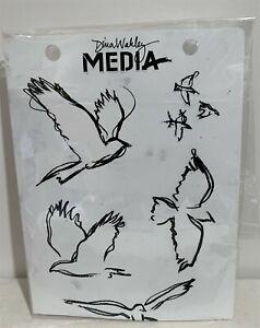 Dina Wakley Media Scribbly BIRDS In Flight Cling Rubber Stamps Set