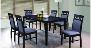 Modern 7p Black Dining Set Kitchen Dining Room Rectangular Furniture Table Chair