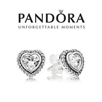 Genuine Authentic Pandora Sparkling Heart Stud Earrings
