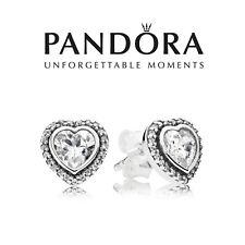 Genuine Authentic Pandora Sparkling Heart Stud Earrings