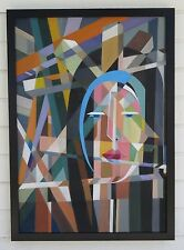 STURM VINTAGE HUGE ABSTRACT MODERN CUBISM GEOMETRIC MOTHER SUPERIOR OIL PAINTING