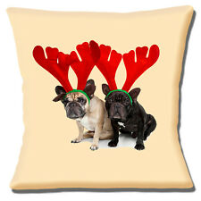 "NEW FRENCH BULLDOGS WEARING ANTLERS CHRISTMAS PHOTO 16"" Pillow Cushion Cover"
