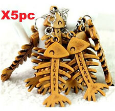 Double Sides Fish Bones Keychain Wood Style Carving Pendant Keyring 5PCs ☆