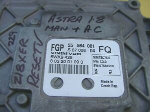 """RESET"" Vauxhall Astra 1.8 ECU 55564081 FQ Opel Z18XER 5WK9425 Ignition Ecm"