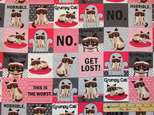 Grumpy Cat Pink & Grey Squares FLANNEL Fabric by the 1/2 Yard   R10-9724-0226