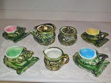 Antique French Majolica TEA SET - SHELLFISH : CRAB, SEA HORSES, SHELLS, OYSTER