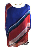 Phase Eight M Silk Loose Fit Top Tunic Blouse Red White Blue Brush Strokes VGC