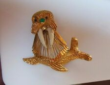 Walrus Wired Center Brooch/Pin With Green Rhinestone Nose