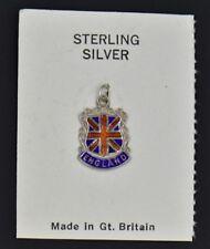 New Vintage Union Jack Uk National Flag Enamel Shield Charm Sterling Silver