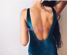 Zara Green Bodysuit Velvet L Large 12 New Sold Out BNWT Low Back