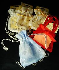 "Bulk Lot of 5 Organza Decorative Gift Bags Sheer Fabric Holiday 3.5"" x 3.75"""