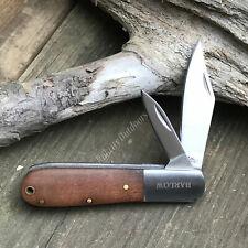 "3 3/8"" Closed Rich Wood Grain Barlow Two Blade Folding Pocket Knife Rite Edge"