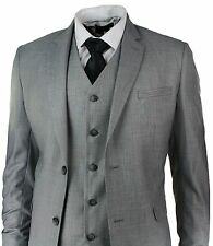 Men Slim Fit Suit Grey 3 Piece Work Office or Wedding Party wear dinner Suit
