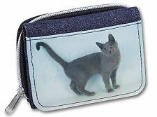 Russian Blue Cat Girls/Ladies Denim Purse Wallet Christmas Gift Idea, AC-108JW