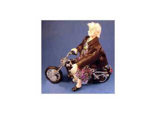 """Biker Babe"" - 1/12 scale dollhouse miniature doll"