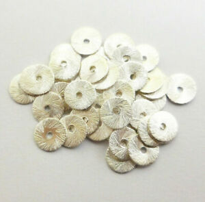 400 PCS 8MM SPACER BRUSHED FLAT DISC STERLING SILVER PLATED   HTD-252