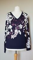 Phase Eight Bethal Floral Border Print Top, Size 12, Navy Blue, BNWT