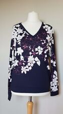 Phase Eight Bethal Floral Border Print Top Size 12 Navy Blue