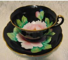 VINTAGE HAND PAINTED BLACK TEA CUP & SAUCER CABBAGE ROSE JAPAN