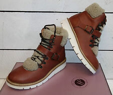 Ladies Hudson Adda Tan Leather Lace Up Boots