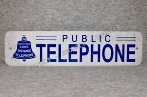Metal Sign TELEPHONE public pay coin vintage replica phone booth white blue bell
