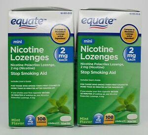 Lot of 2 Equate Mini Nicotine Lozenges, Mint Flavor (2 mg, 108 Count Each Box)