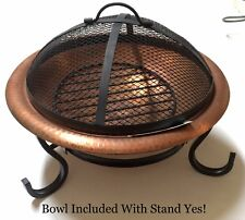Round REAL Copper Table Top Fire Pit Bowl and Stand - includes metal mesh cover