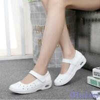White Women's Leather Mesh Comfort Flats Hospital Nurse Work Wedge Nursing Shoes