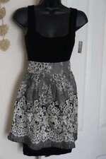 LIPSY NWT Black Silk Cream Lace Effect Stretch Dress Body Con Peplum 6 8 NEW